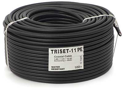 Przewód koncentryczny 75 Om TRISET-11 PE +żel 1,65/7,2/10 [100m]