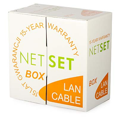 Przewód NETSET BOX U/UTP 5e żelowany, czarny skrętka zewnętrzna [305m]