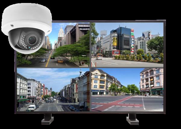 kamery kopulowe. zestaw 600x430 - Zestaw monitoringu 4 kamer kopułkowych