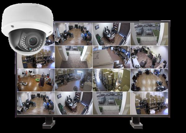 kamery kopulowe. zestaw16 600x430 - Zestaw monitoringu 16 kamer kopułkowych