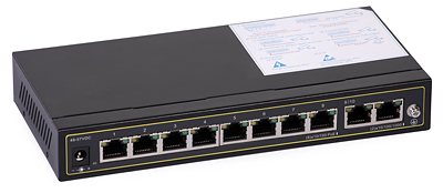 37 - Switch PoE ULTIPOWER PRO0208afat 802.3af/at 120W 10x RJ45 (8xPoE), PoE Auto Check