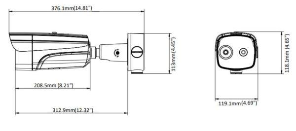 DS 2TD2636B 15 P wymiary1 1 600x266 - Kamera do pomiaru temperatury ciała Hikvision DS-2TD2617B-3/PA, 160x120/4MP