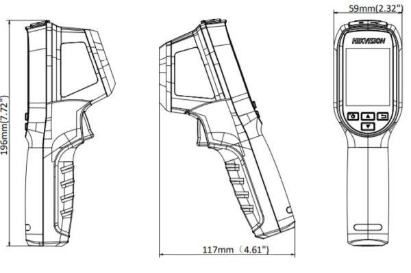 DS 2TP31B 3AUF wymiary1 600x399 - Kamera do pomiaru temperatury ciała Hikvision DS-2TP31B-3AUF, 160x120, podręczna, obiektyw 3.1mm