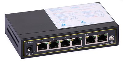 29 - Switch PoE ULTIPOWER PRO0064afat 802.3af/at 65W 6x RJ45 (4xPoE), PoE Auto Check